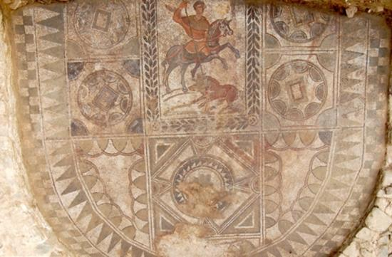4 ancient roman mosaic oval