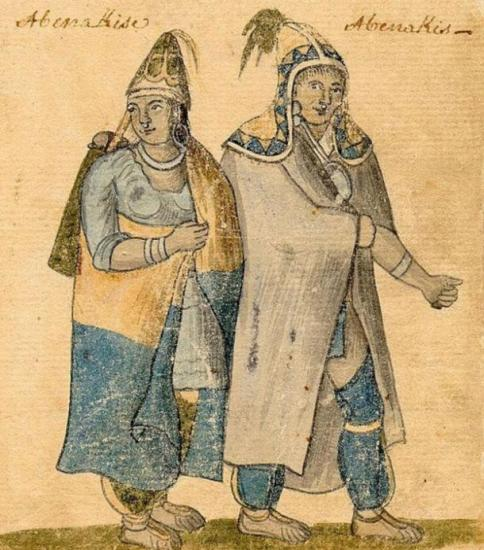 Abenaki couple wearing traditional dress