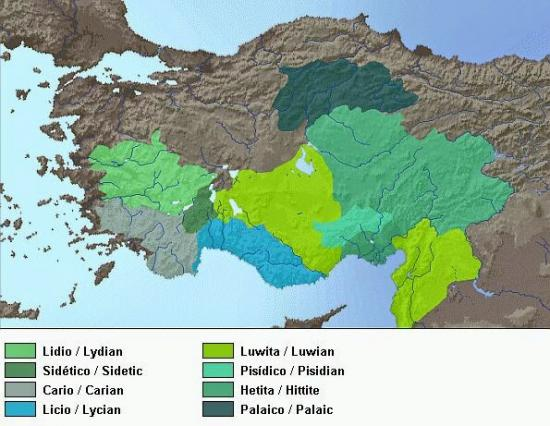 Anatolian languages map