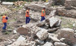 Ancient serdica ruins workers