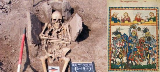 Bones of a medieval norman knight and a print of a 14th century french tournament