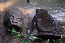 Cambodia bayon statues