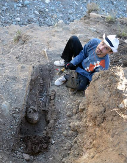 Inside adult grave