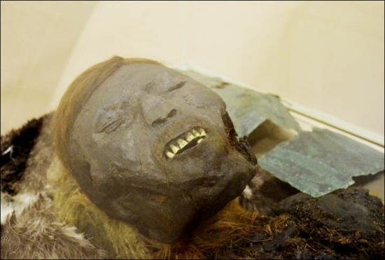 Inside mummified adult man face