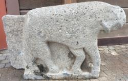 Israel lioness carving posed web