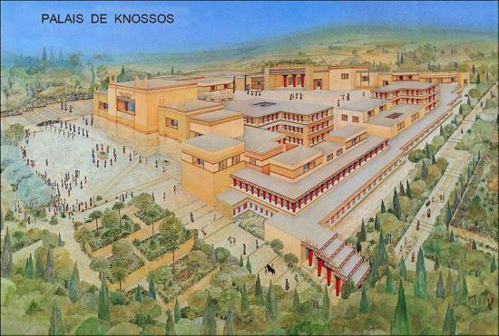 Le palais de knossos en crete reconstitution