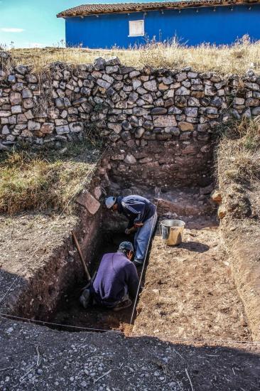 Peru state archaeologists digging near remains ushnu stone ceremonial platform found city