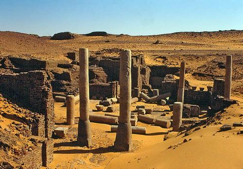 Ruins deserted town old dongola sudan where tomb mysterious inscriptions seven mummies have