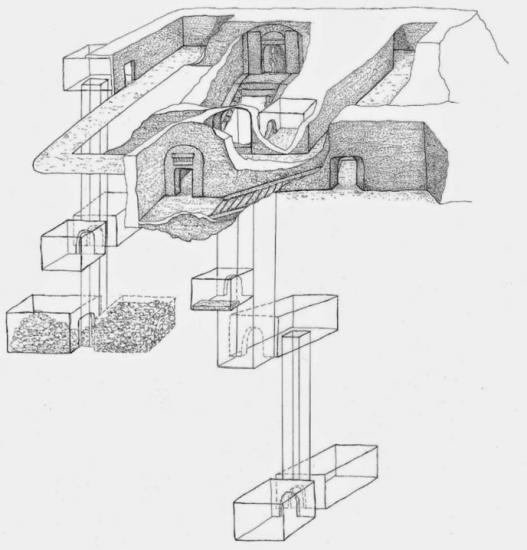 Sketch showing outline tomb osiris