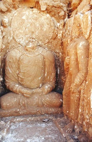 The sculpture depicting the death scene of buddha after consolidation copy