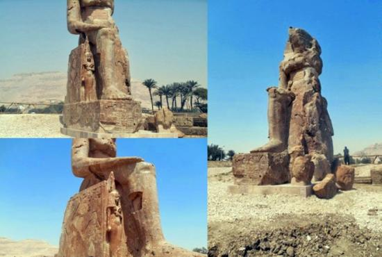 Two additional colossal statues pharaoh amenhotep iii have been restored raised luxor